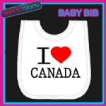 I LOVE HEART CANADA CANADIAN WHITE BABY BIB EMBROIDERED GIFT